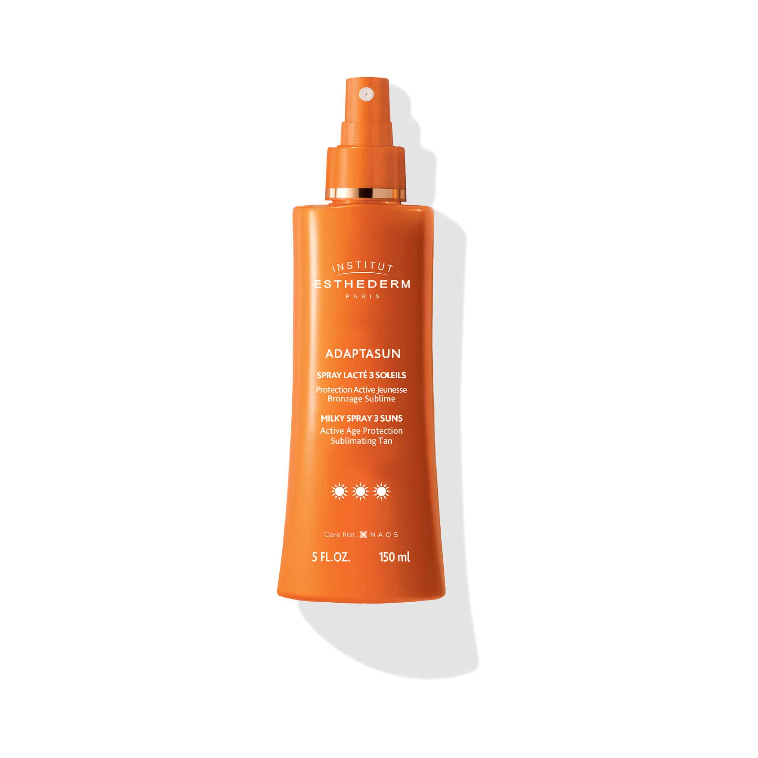 ESTHEDERM photo produit, Spray Lacté 3 Soleils 150 ml, lait solaire vaporisateur, UVA UVB, soin hydratant