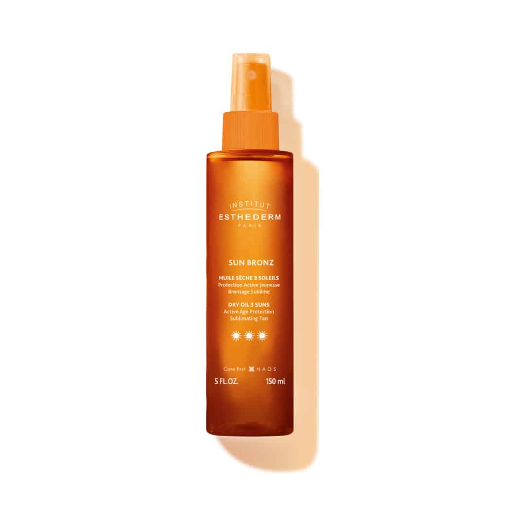 ESTHEDERM product photo, Protective Dry Oil 3 Suns 150ml, dry oil sun care spray, UVA UVB protection, nourishing care