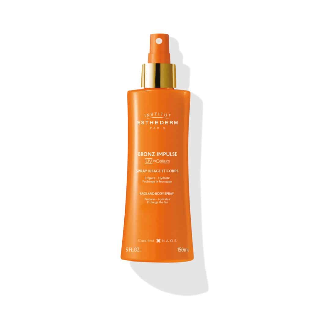 ESTHEDERM product photo, Bronz Impulse Spray 150ml, face and body mist, faster tan, long-lasting glow, skin prep