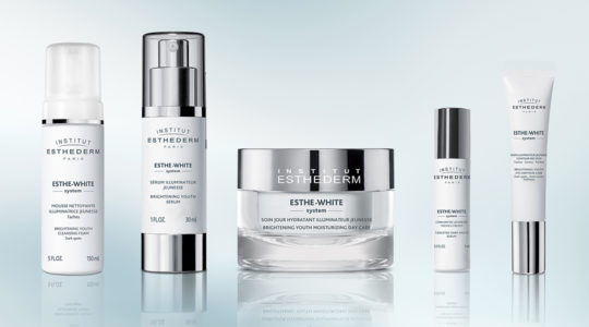 ESTHEDERM product photo, Esthe White Brightening range, serum, cleanser, cream, eyes, reduces dark spots, even skin tone