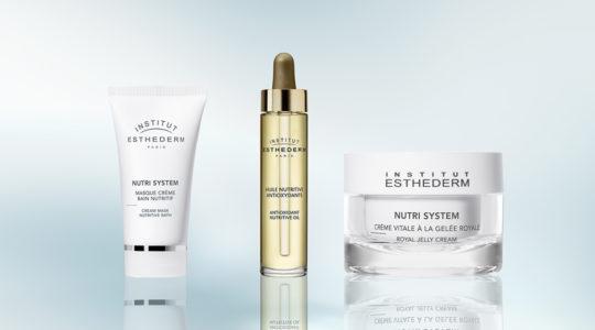 ESTHEDERM photo produit, gamme Nutri System, crème, huile, masque, soin revitalisant, éléments essentiels, nutrition