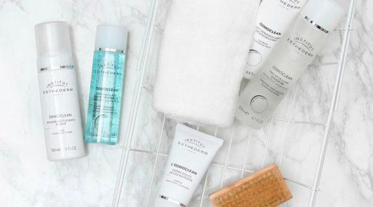 ESTHEDERM photo produit, gamme Osmoclean, gel nettoyant, Lait démaquillant, exfoliant, lotion tonique, eau micellaire
