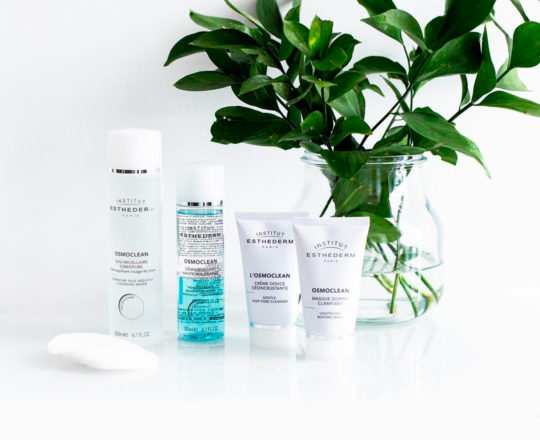 ESTHEDERM product photo, Osmoclean range, gel cleanser, milk makeup remover, exfoliator, lotion, toner, micellar water
