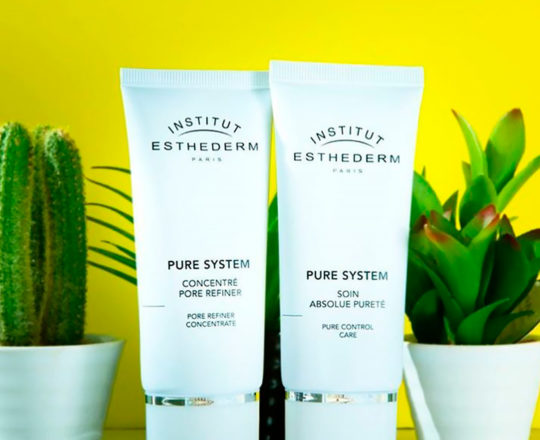 ESTHEDERM product photo, Pure System range, hydrating concentrate, mattifying skincare, less shine, oily to combination skin