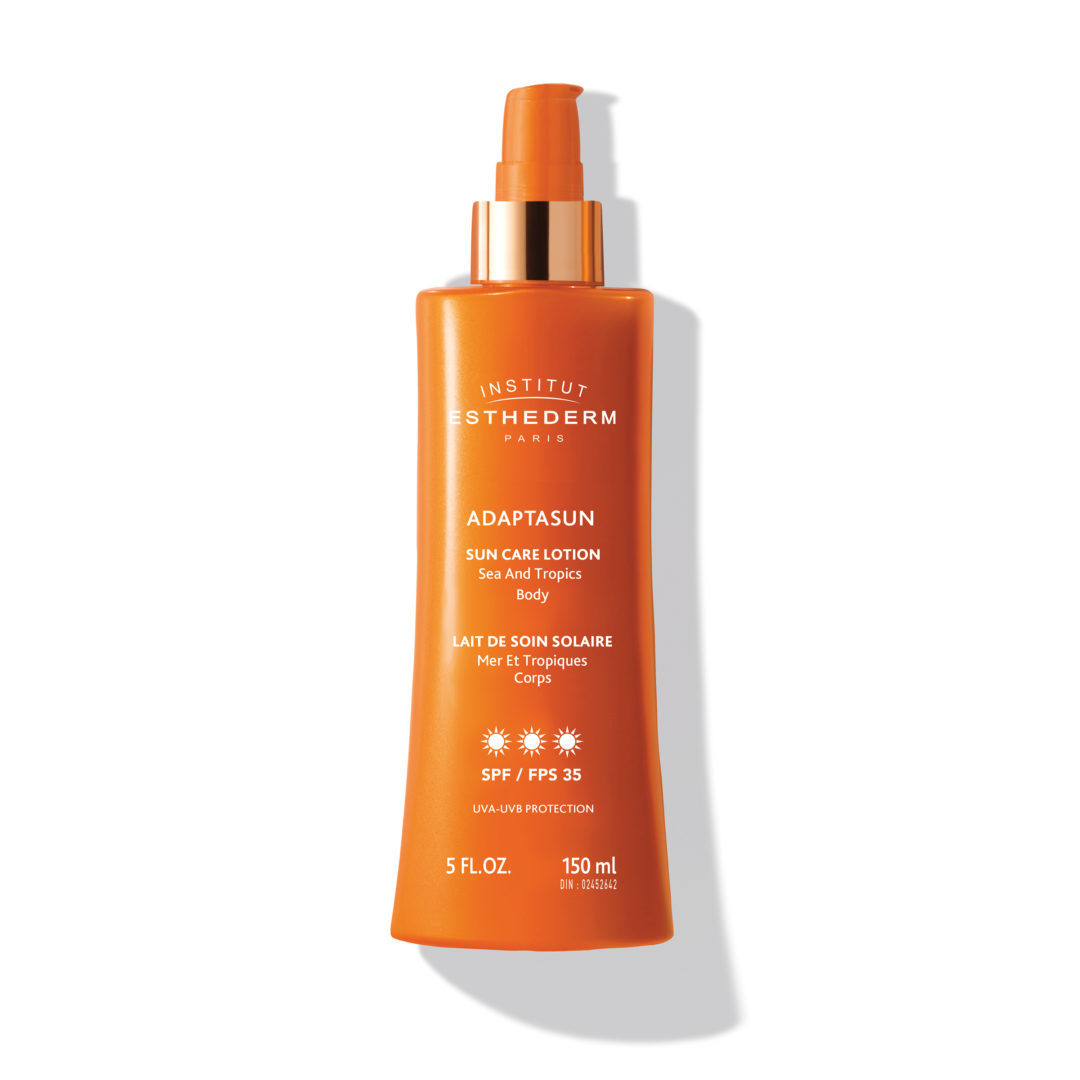 ESTHEDERM product photo, Sun Care Lotion SPF 35 150ml, milk sun care, UVA UVB protection, hydrating care, sunscreen