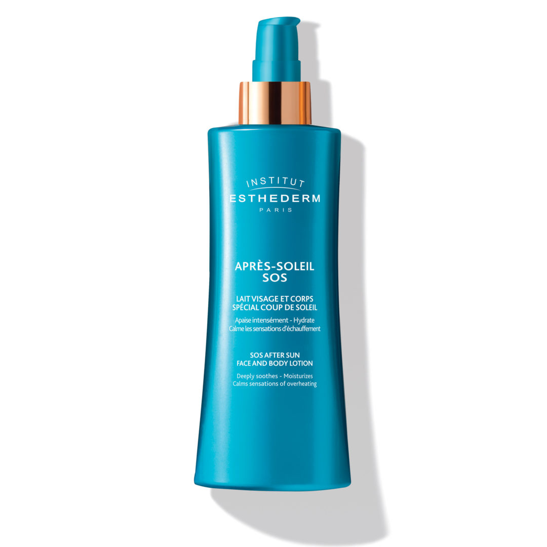 ESTHEDERM product photo, After Sun SOS Lotion 200ml, post-sun care, soothing, intense hydration, moisturizing, radiance