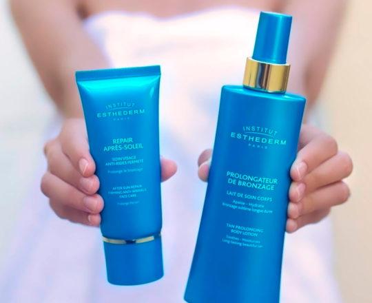 ESTHEDERM product photo, After-Sun range, post-sun repair, Face, body, shower gel, anti-aging, anti wrinkles, prolongs tan
