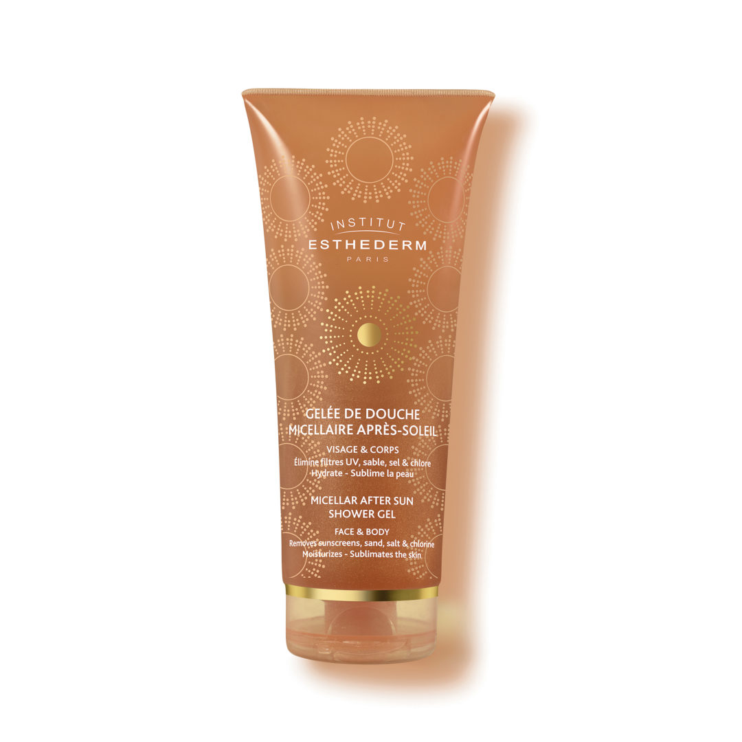 ESTHEDERM product photo, Micellar After-Sun Shower Gel 200ml, cleanser for sunscreen residues, sand, salt and chlorine