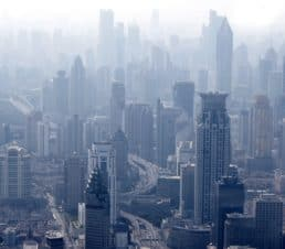 Esthederm photo, Shanghai panoramic view overlooking the city, pollution, smog, free radicals, skin aging