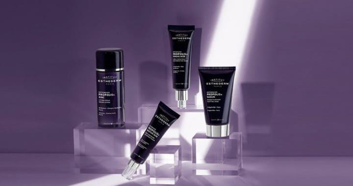 ESTHEDERM product photo, Intensive Propolis range, serum, cream, Essence, mask, decongesting, soothing, acne, aging