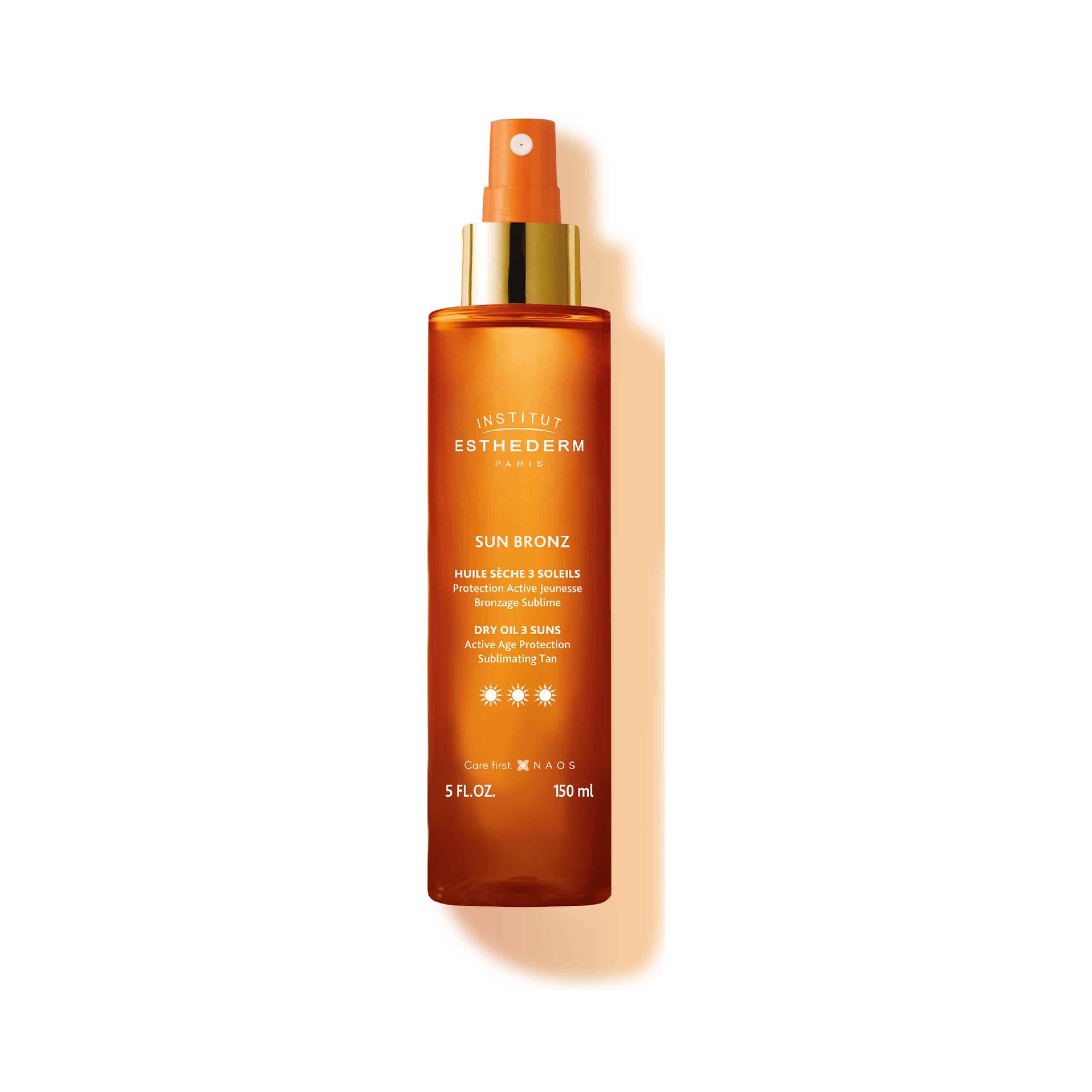 ESTHEDERM photo produit, Huile Sèche Protectrice 3 Soleils 150 ml, soin huile sèche, UVA UVB, nourrissant, écran solaire