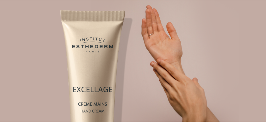 ESTHEDERM product photo, Excellage Hand Cream 50ml, nourishes, redensifies, evens skin tone, visible dark spots, younger looking