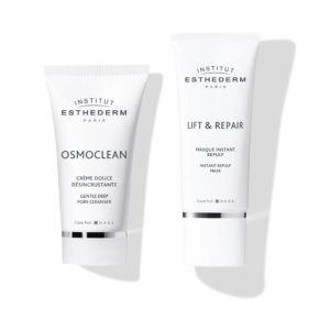 ESTHEDERM product photo, Osmoclean Gentle Deep Pore Cleanser 50ml, Lift & Repair Instant Repulp Mask 50ml, firming