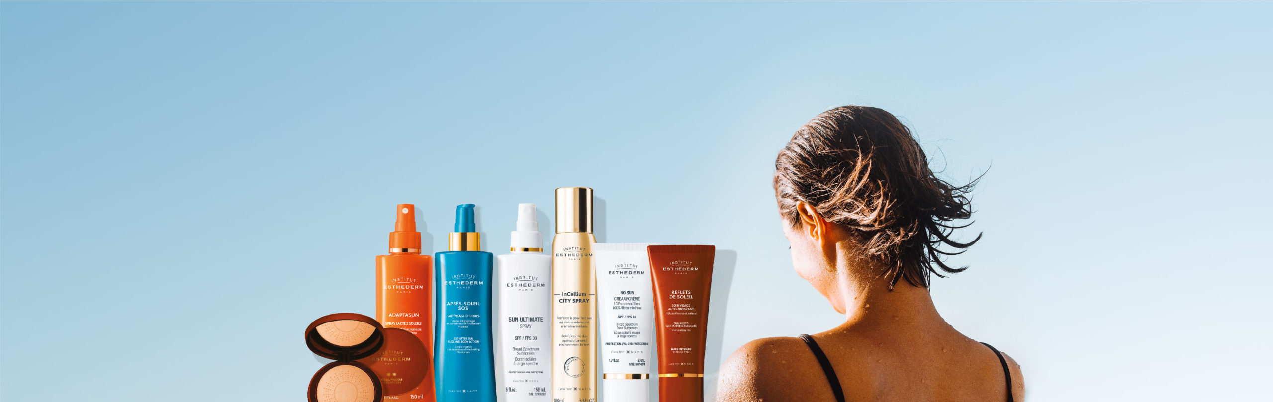 Esthederm product photo, suncare, UVA UVB protection, hydrating anti-aging, sunscreen, broad spectrum care, mineral filters